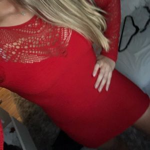 Bebe Red Long Sleeve Bodycon With mesh